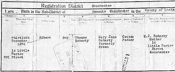 Albert's birth certificate