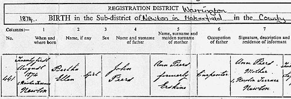 Bertha's birth certificate