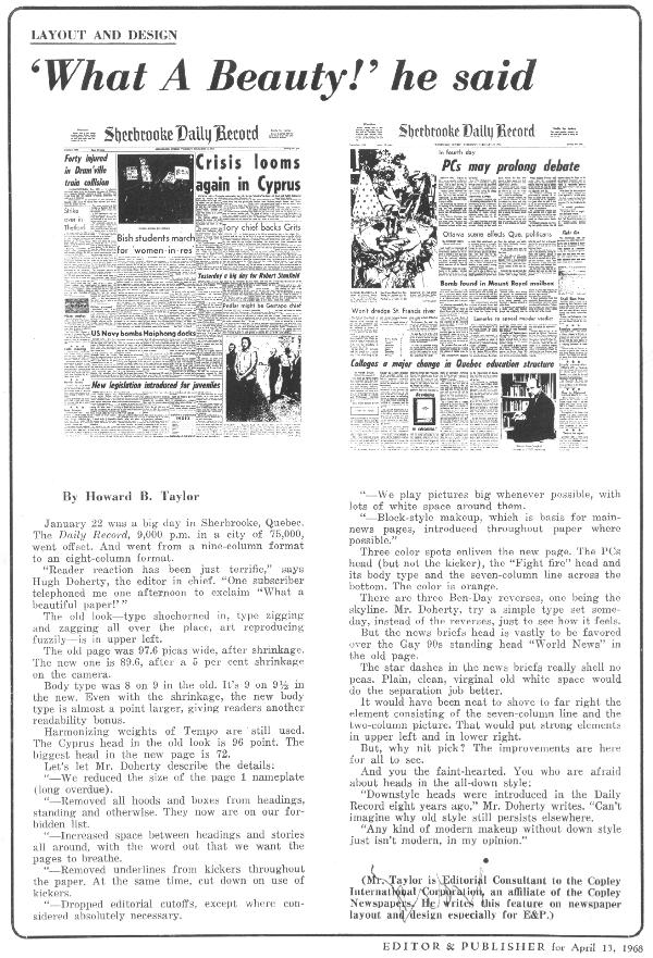 Editor and Publisher article