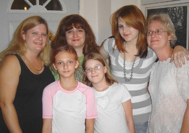 Three sisters and their daughters