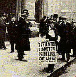 Titanic newspaper billboard
